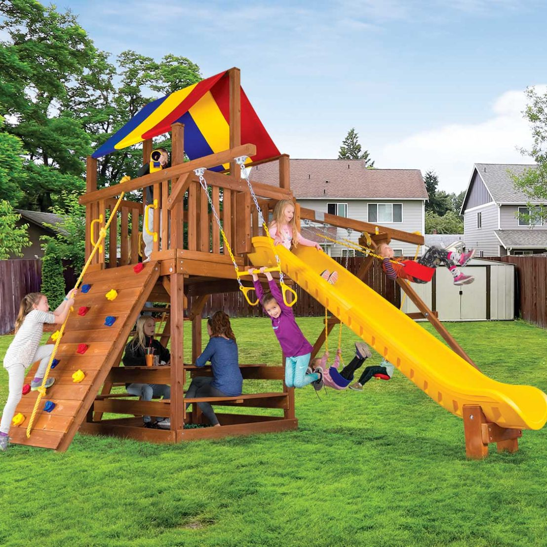Carnival Clubhouse Pkg II Wooden Swing Set