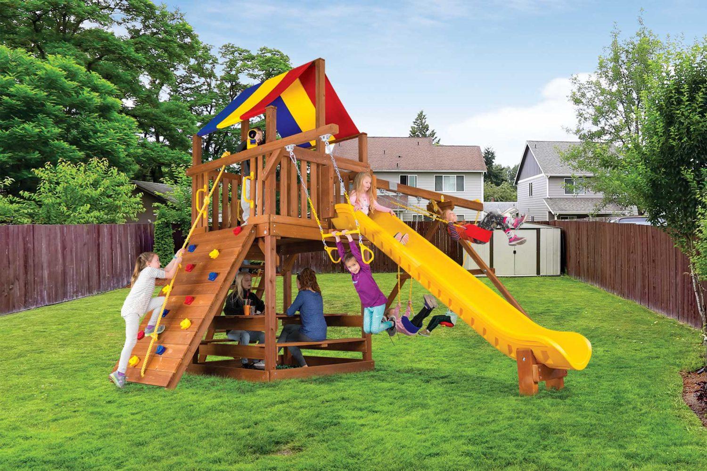 Carnival Clubhouse Pkg II Wooden Swing Set