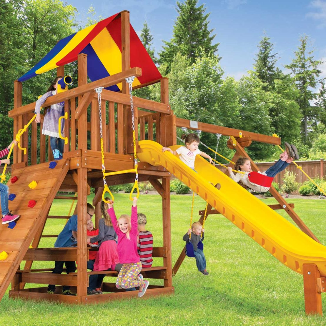 Carnival Turbo Clubhouse Pkg II Loaded Wooden Swing Set