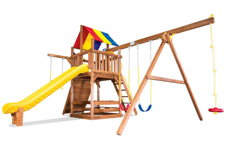 Carnival Turbo Clubhouse Pkg II Loaded Wooden Swing Set
