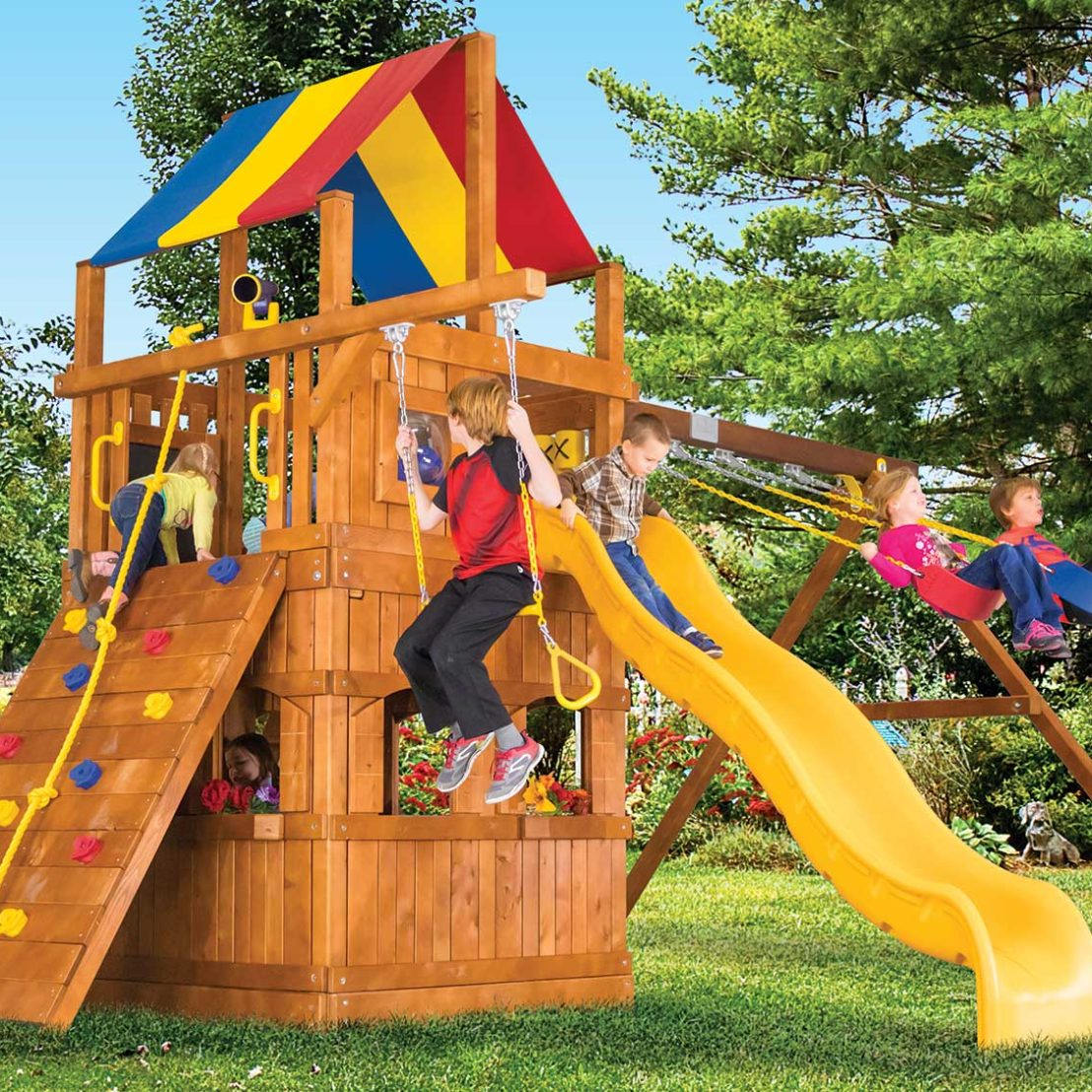 Carnival Clubhouse Pkg II with Playhouse Wooden Swing Set