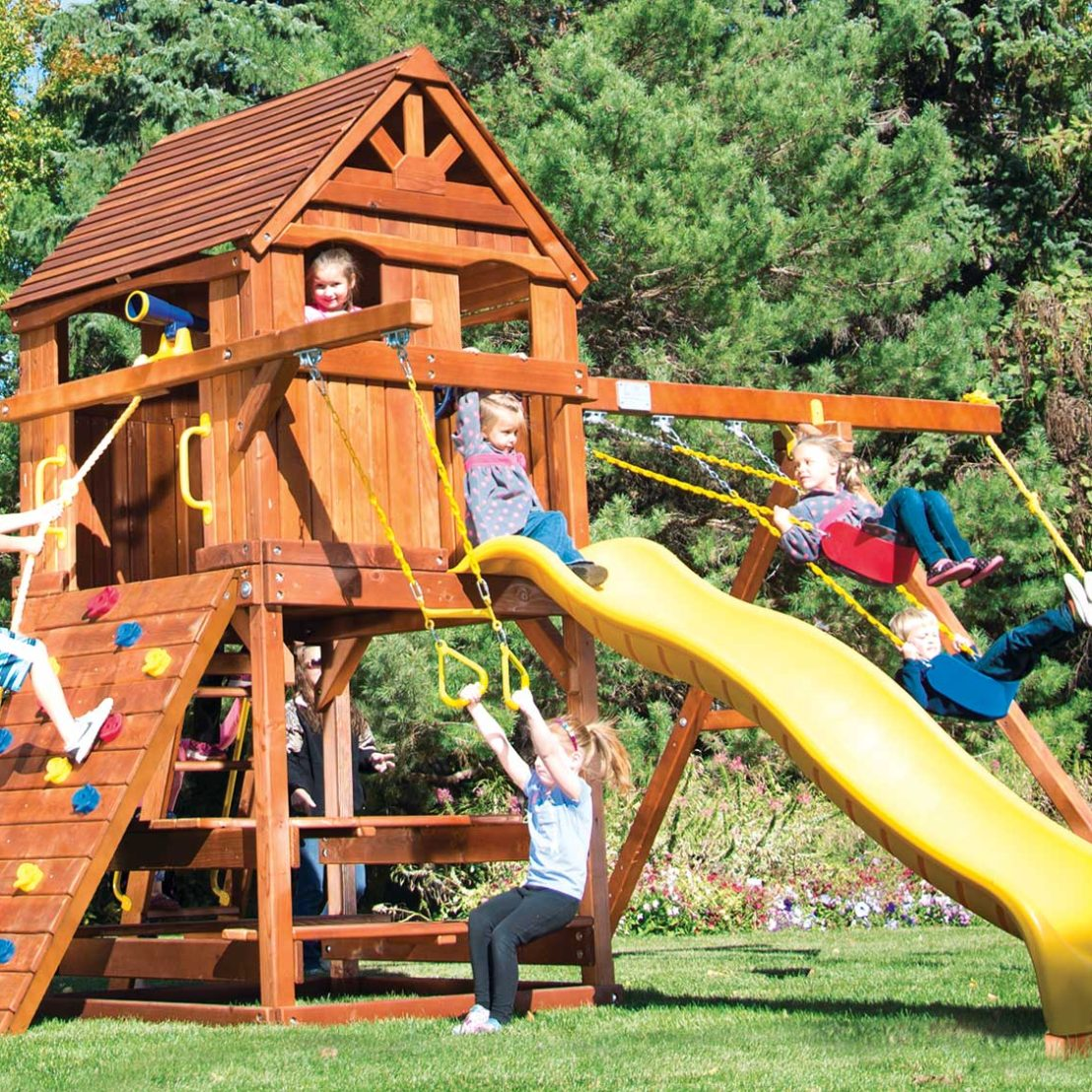 Carnival Clubhouse Pkg II with Upper Level Cabin Wooden Swing Set