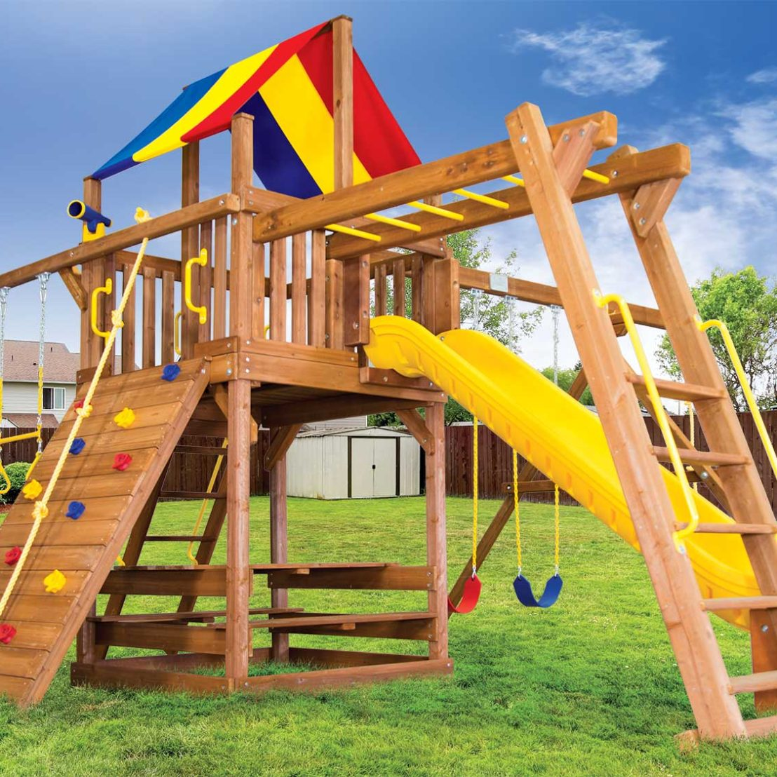 Carnival Turbo Clubhouse Pkg III Wooden Swing Set