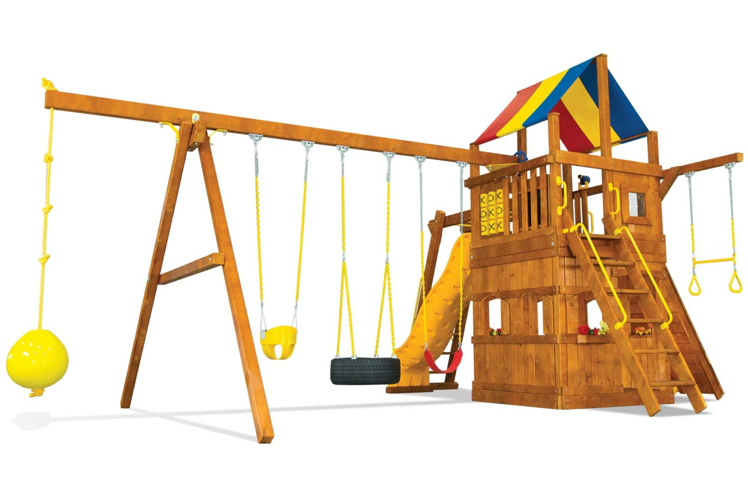Carnival Turbo Clubhouse Pkg III with Playhouse and More Wooden Swing Set