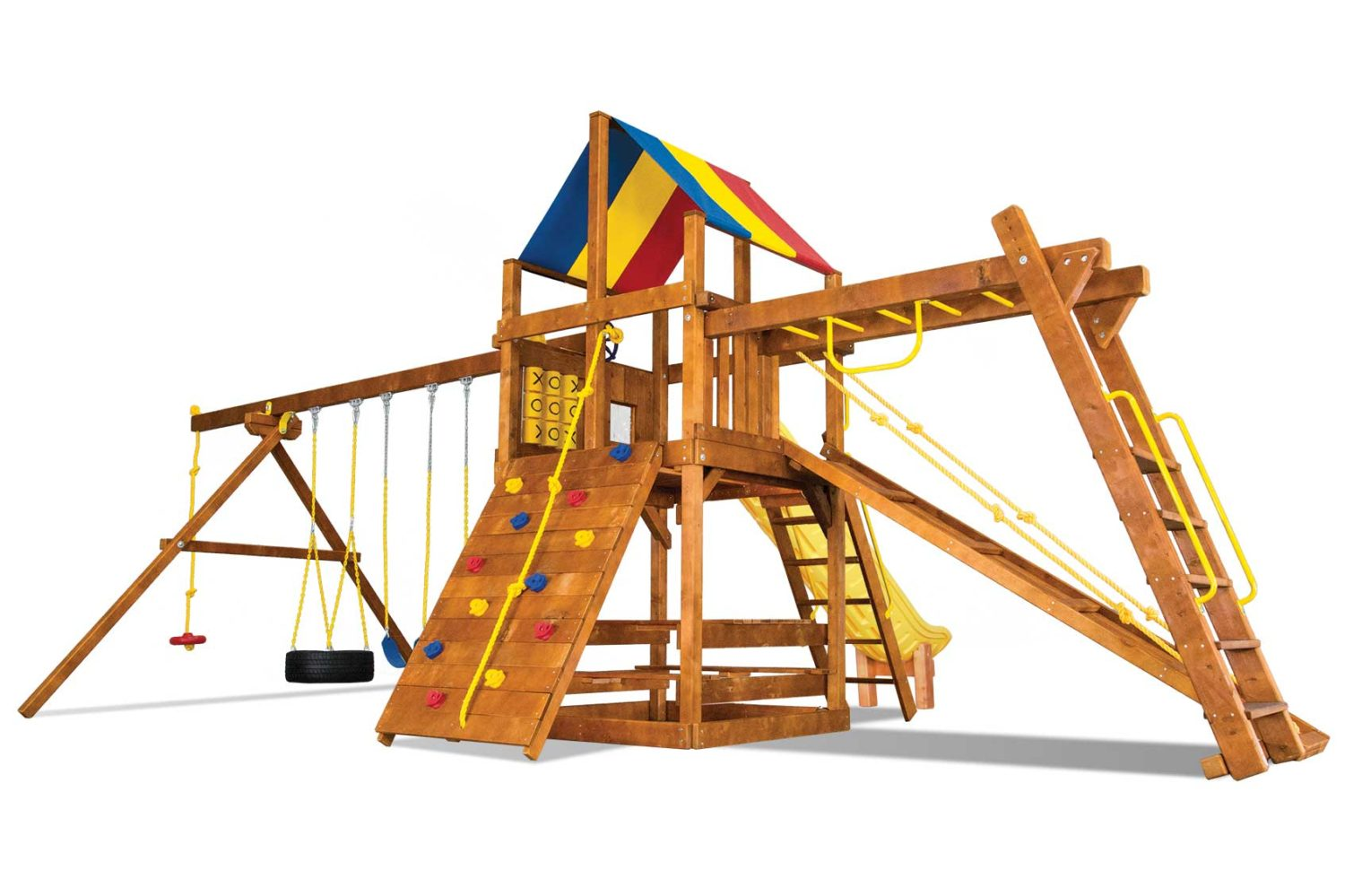 Carnival Clubhouse Pkg III Maxed Out Wooden Swing Set
