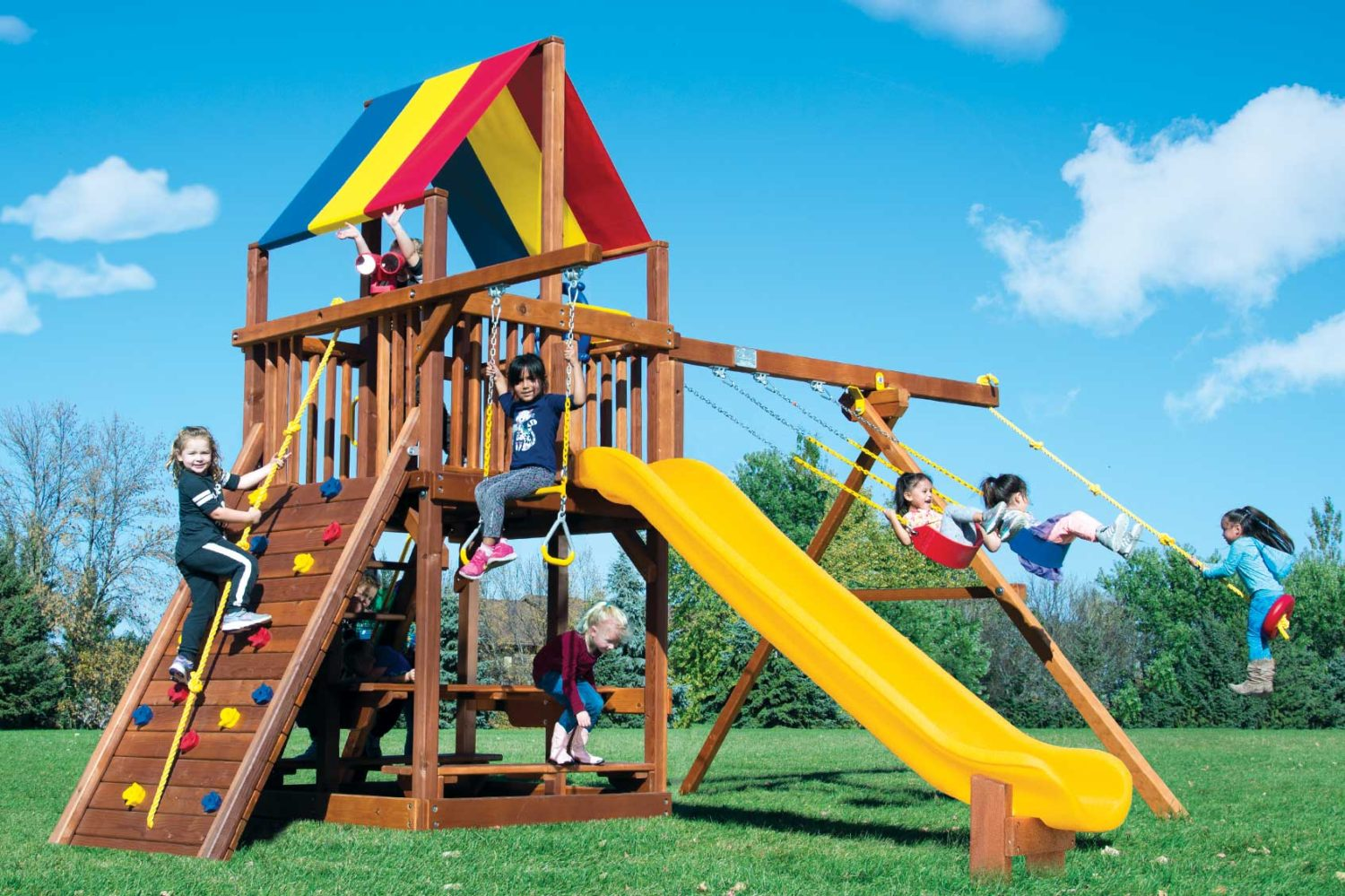 Rainbow Turbo Feature Clubhouse Pkg II Wooden Swing Set