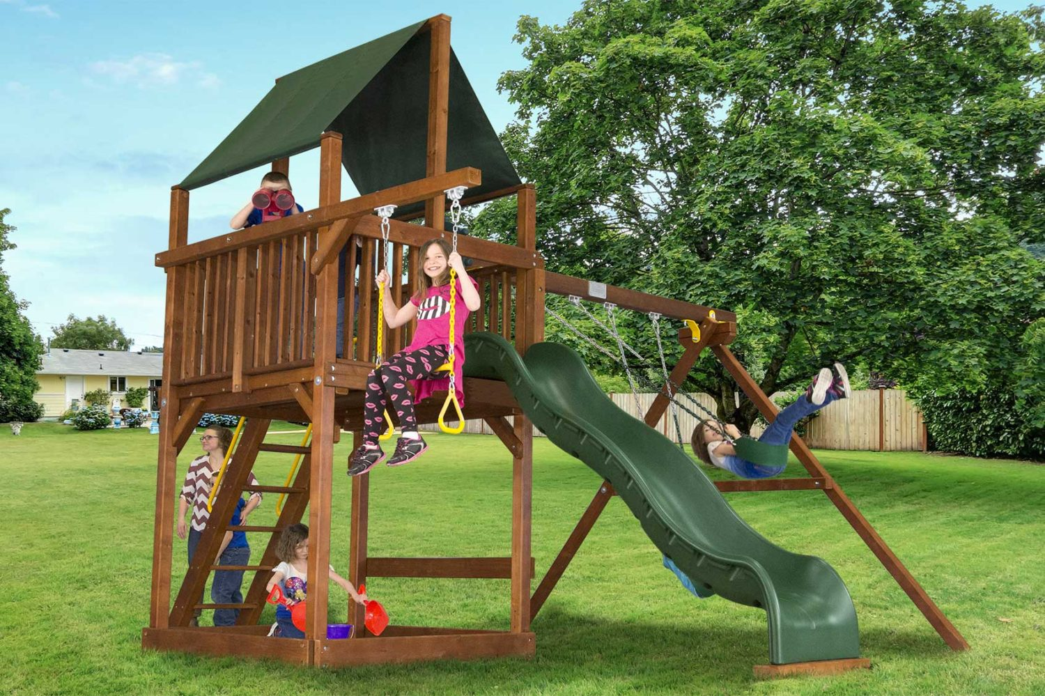 Rainbow Turbo Base Clubhouse Pkg II Wooden Swing Set