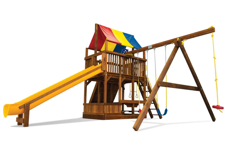 Rainbow Super Turbo Clubhouse Pkg II Wooden Swing Set