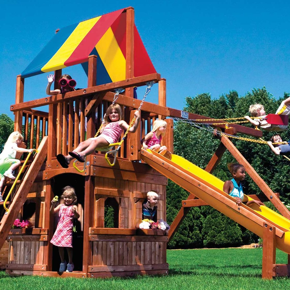 Rainbow Clubhouse Pkg II with Playhouse Wooden Swing Set
