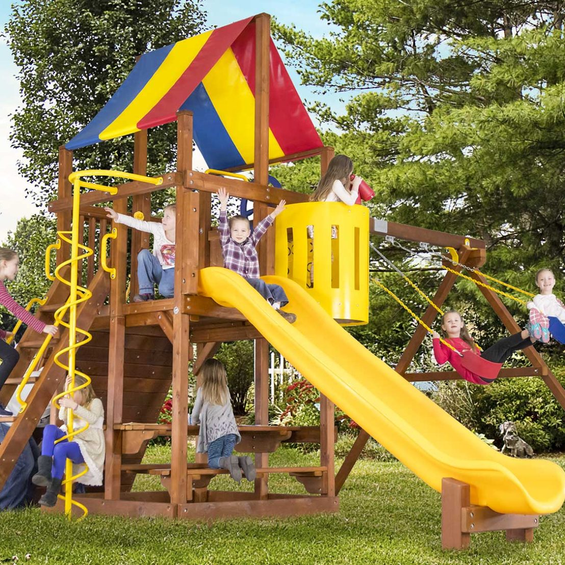Rainbow Clubhouse Pkg II Unique Wooden Swing Set