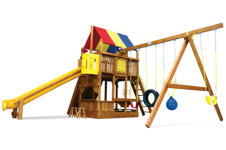 Rainbow Super Turbo Clubhouse Pkg II Fancy Wooden Swing Set