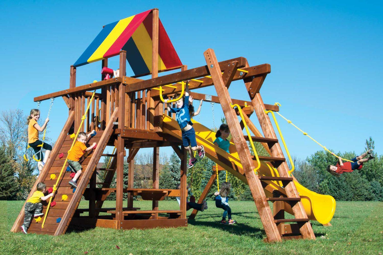Rainbow Turbo Clubhouse Pkg III Loaded Wooden Swing Set