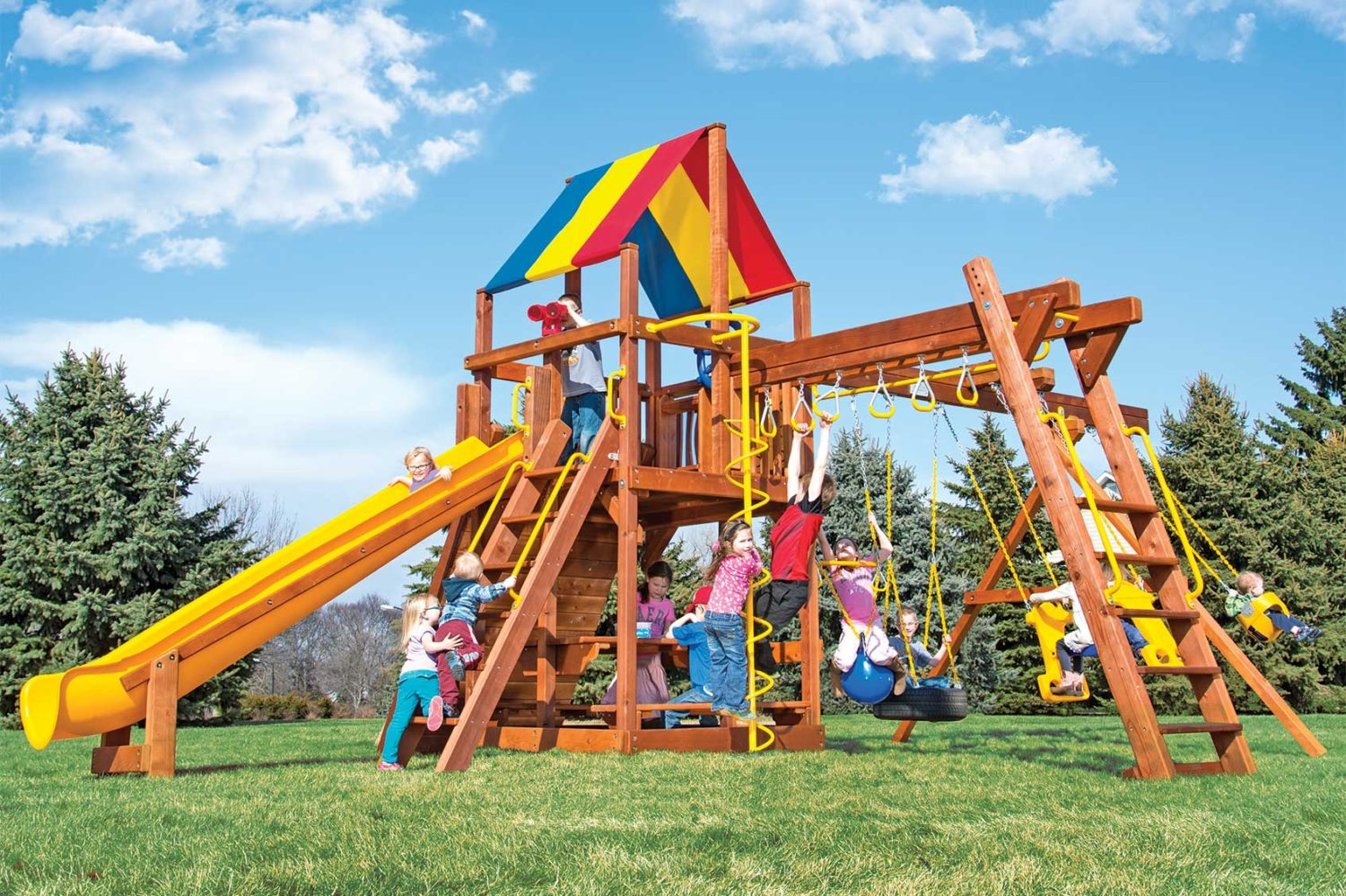 Rainbow Turbo Clubhouse Pkg III Fully Equipped to the Max Wooden Swing Set