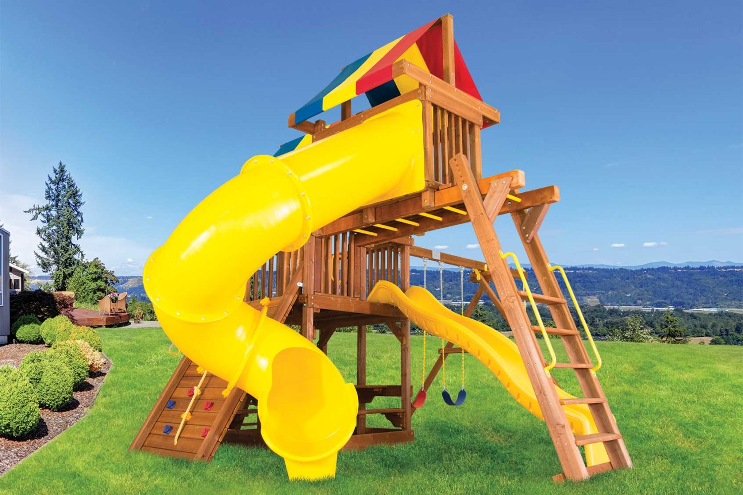 Rainbow Clubhouse Pkg V Wooden Swing Set