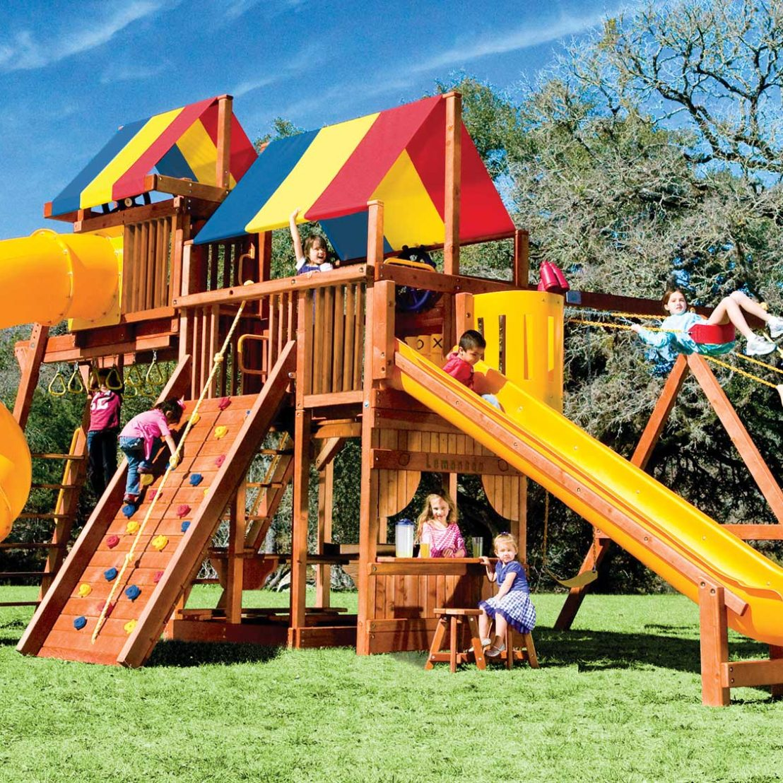 Rainbow Super Turbo Clubhouse Pkg V Whopper Wooden Swing Set