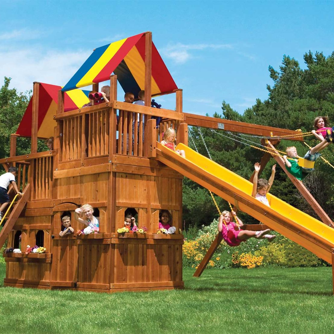King Kong Clubhouse Pkg II with Lower Level Playhouse Wooden Swing Set