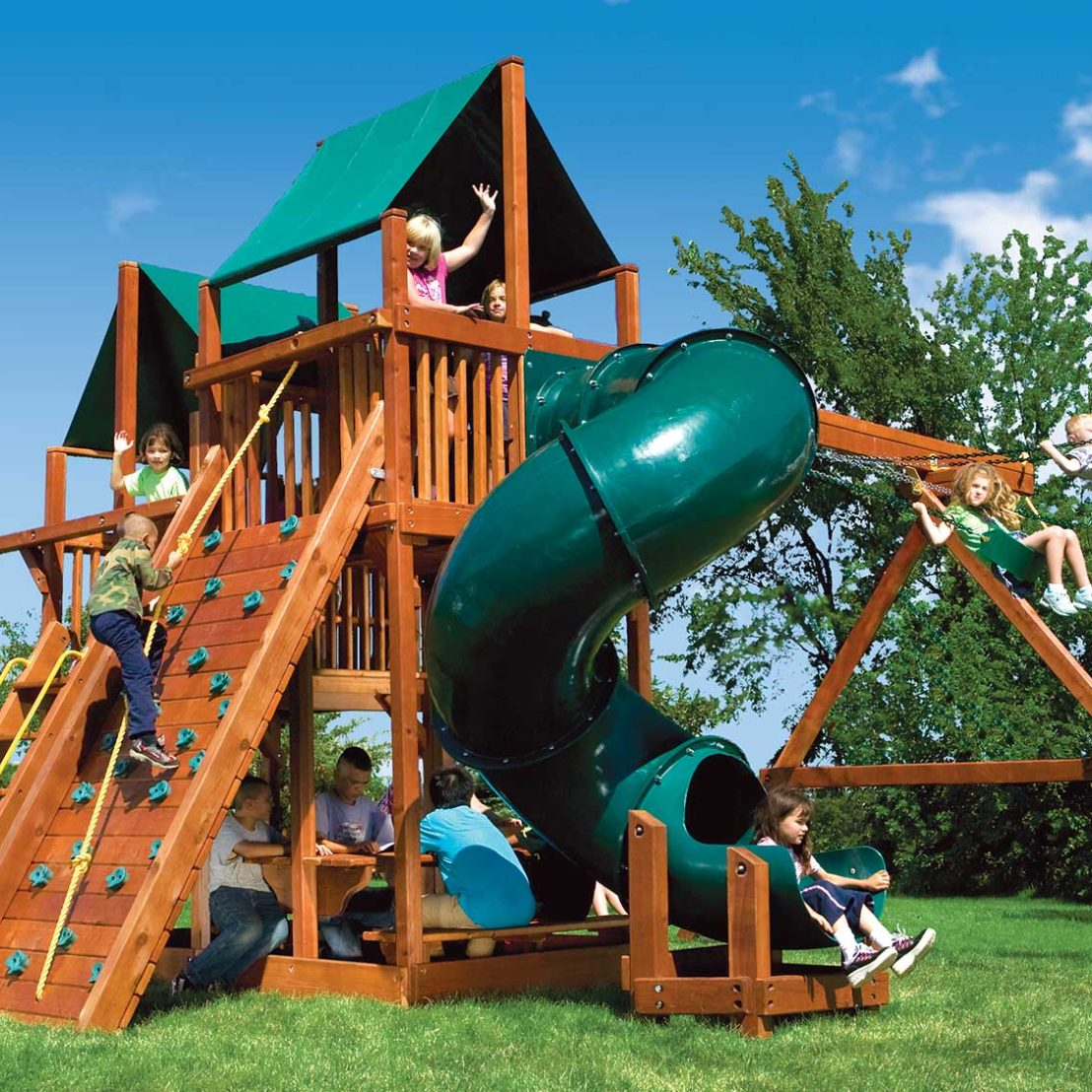 King Kong Clubhouse Pkg II with Spiral Slide Wooden Swing Set