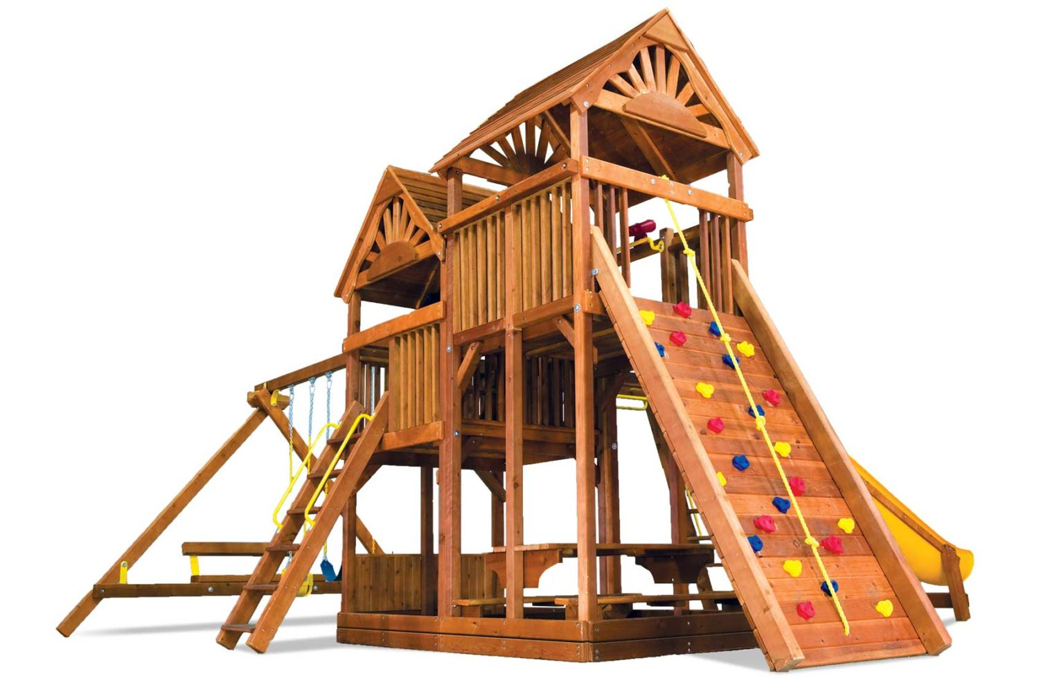 King Kong Clubhouse Pkg III Loaded with Wood Roofs Wooden Swing Set
