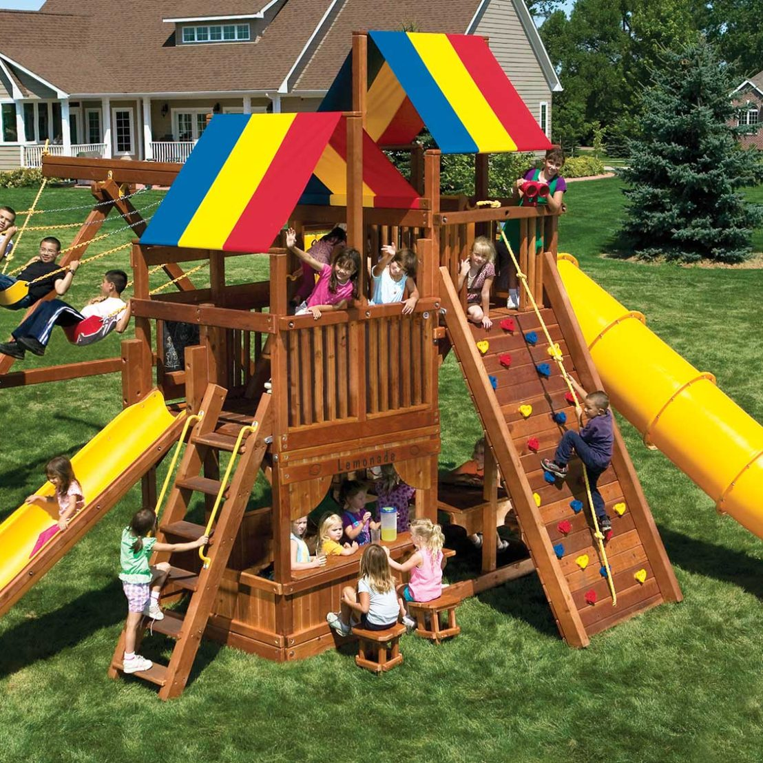 King Kong Clubhouse Pkg II Outrageous Wooden Swing Set