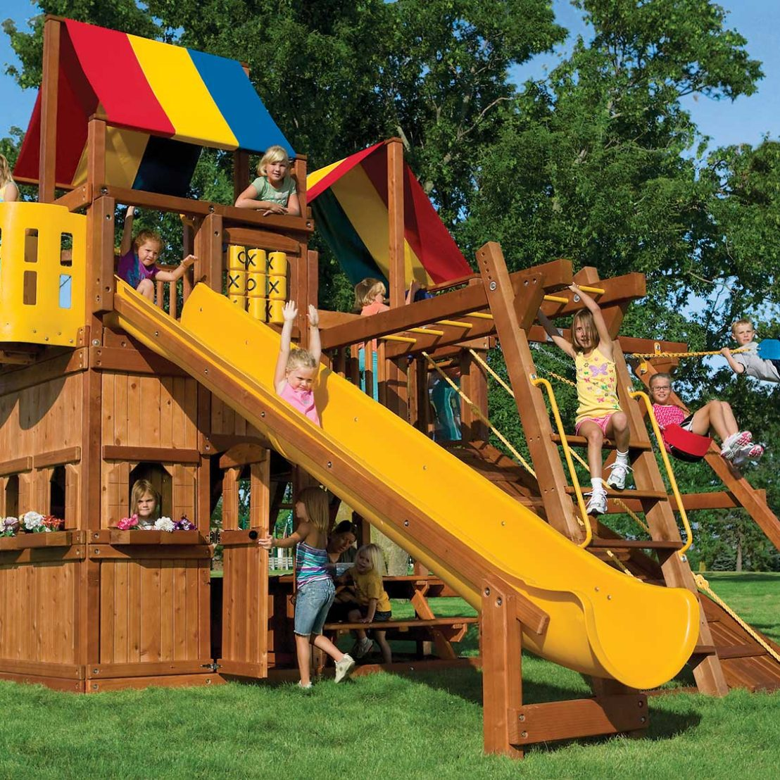 King Kong Clubhouse Pkg III Action Packed Wooden Swing Set