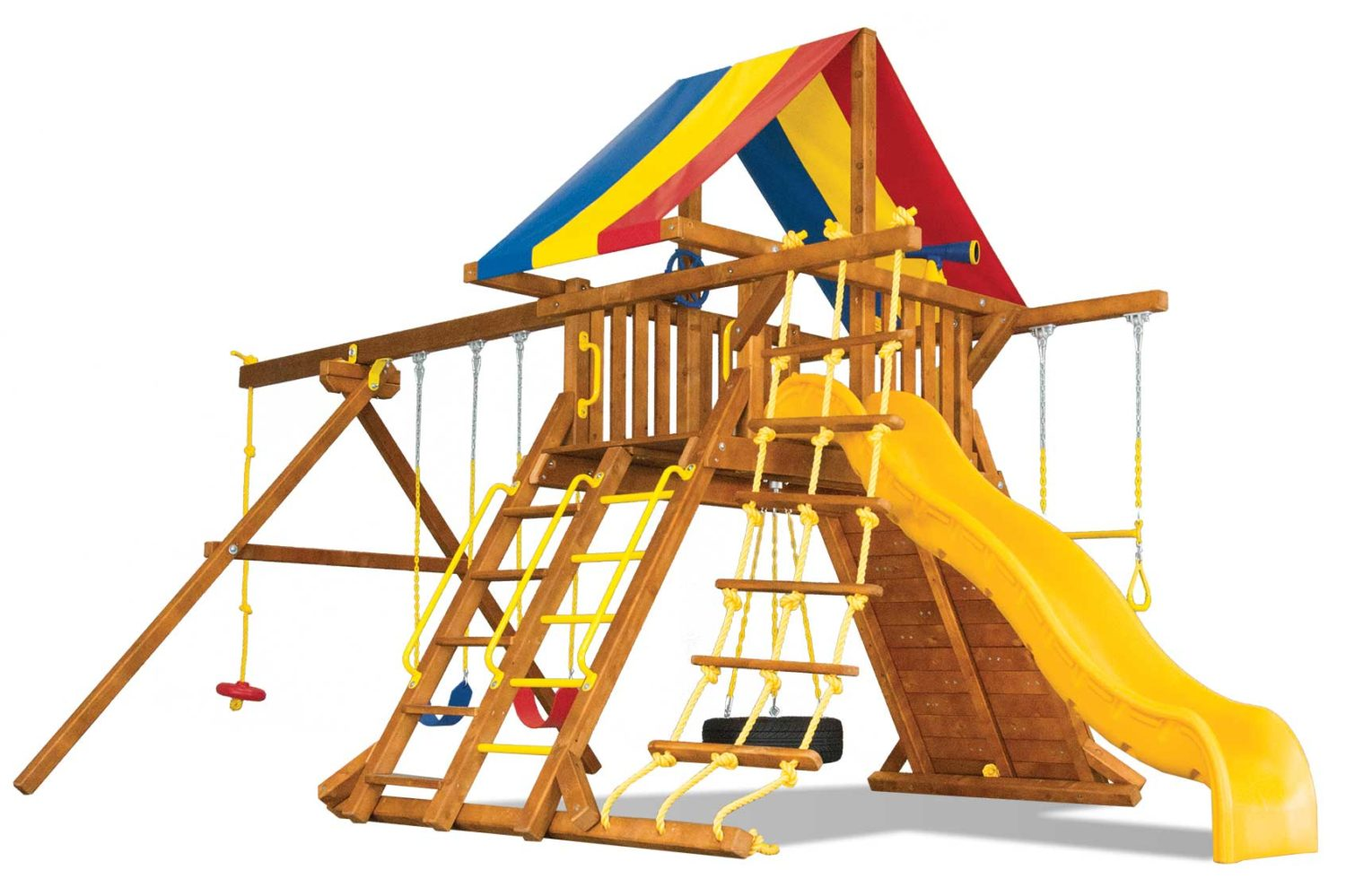 Circus Turbo Feature Castle Pkg II Wooden Swing Set