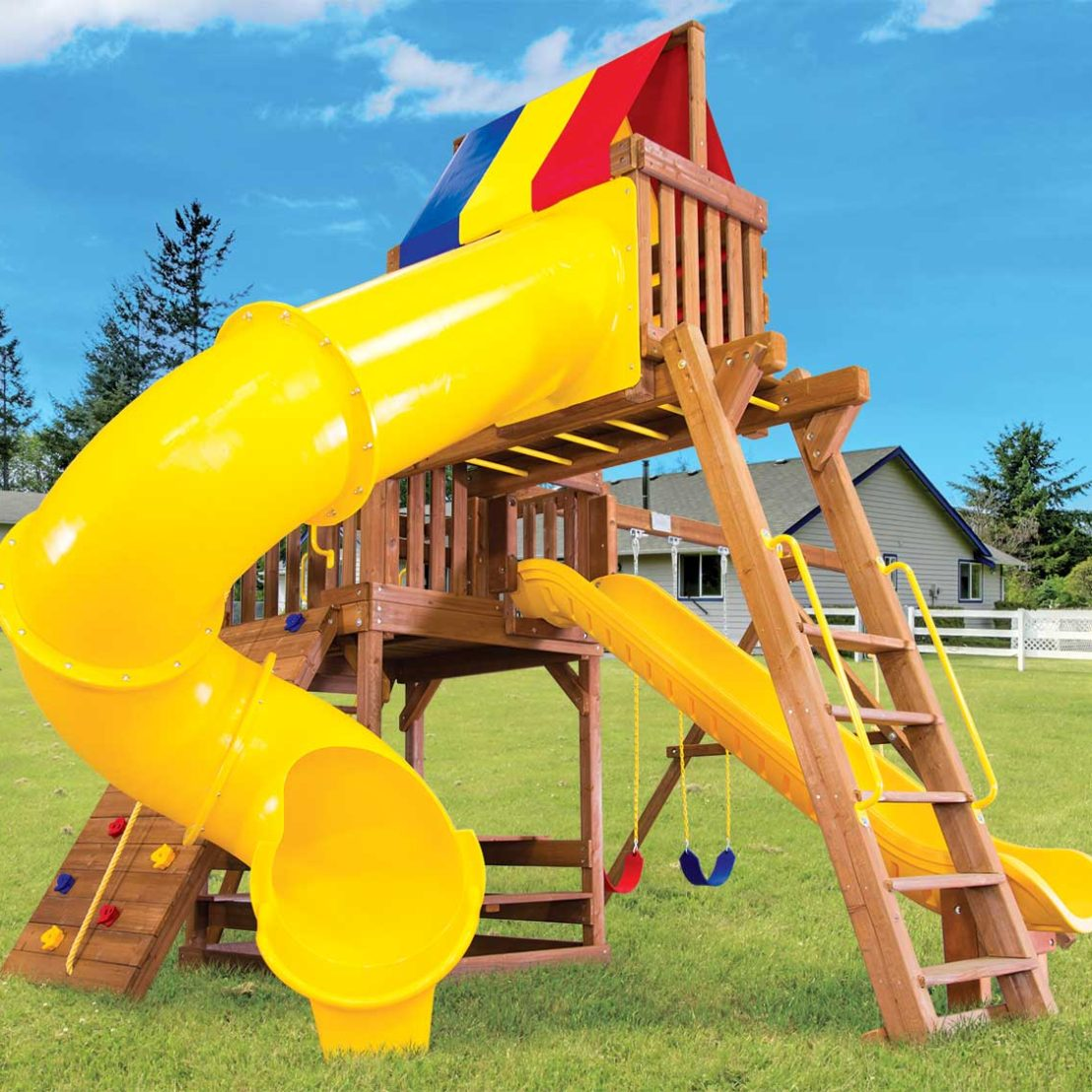 Carnival Turbo Clubhouse Pkg V Wooden Swing Set