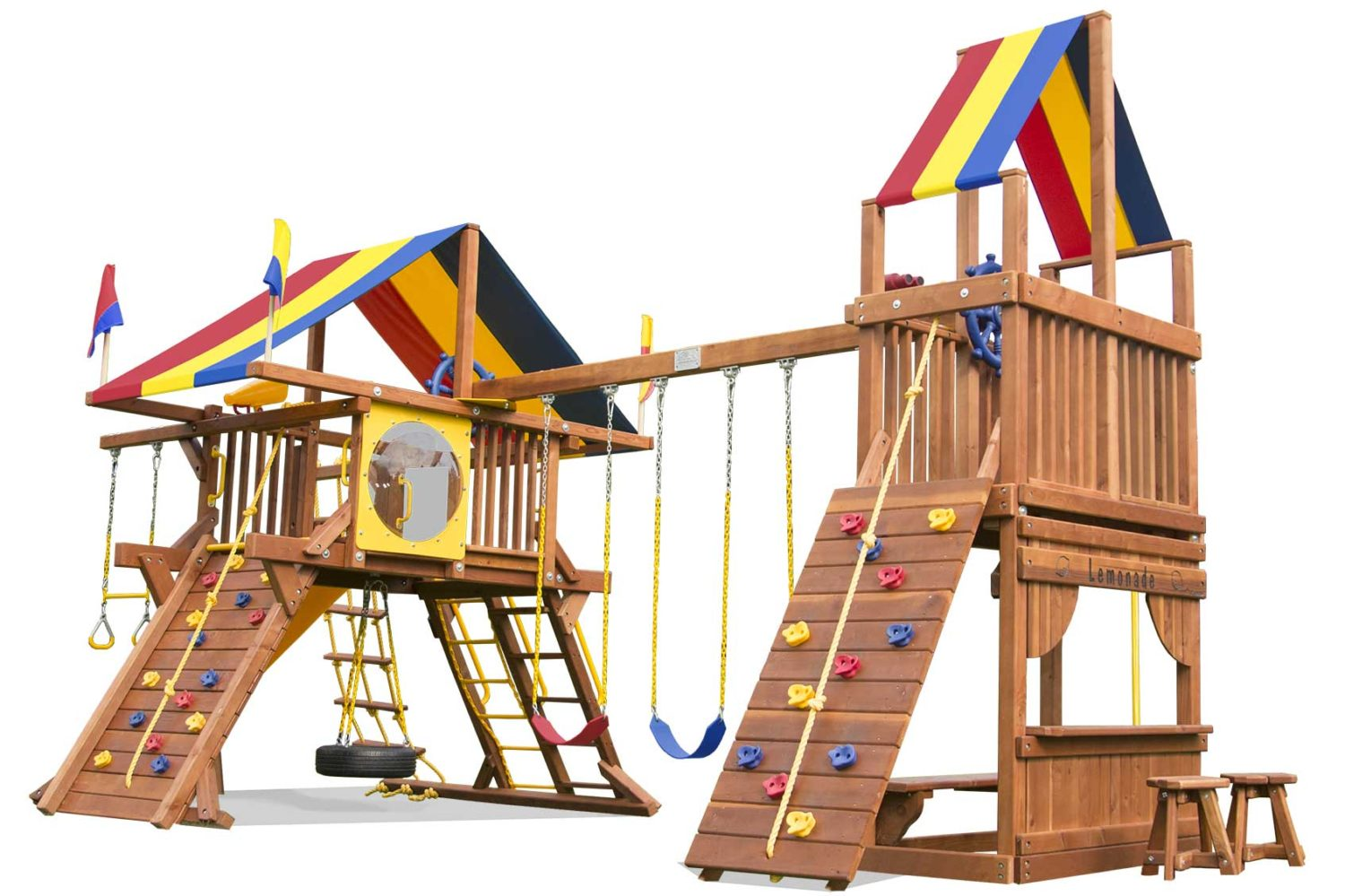 Rainbow Castle with Tower Special Order Wooden Swing Set