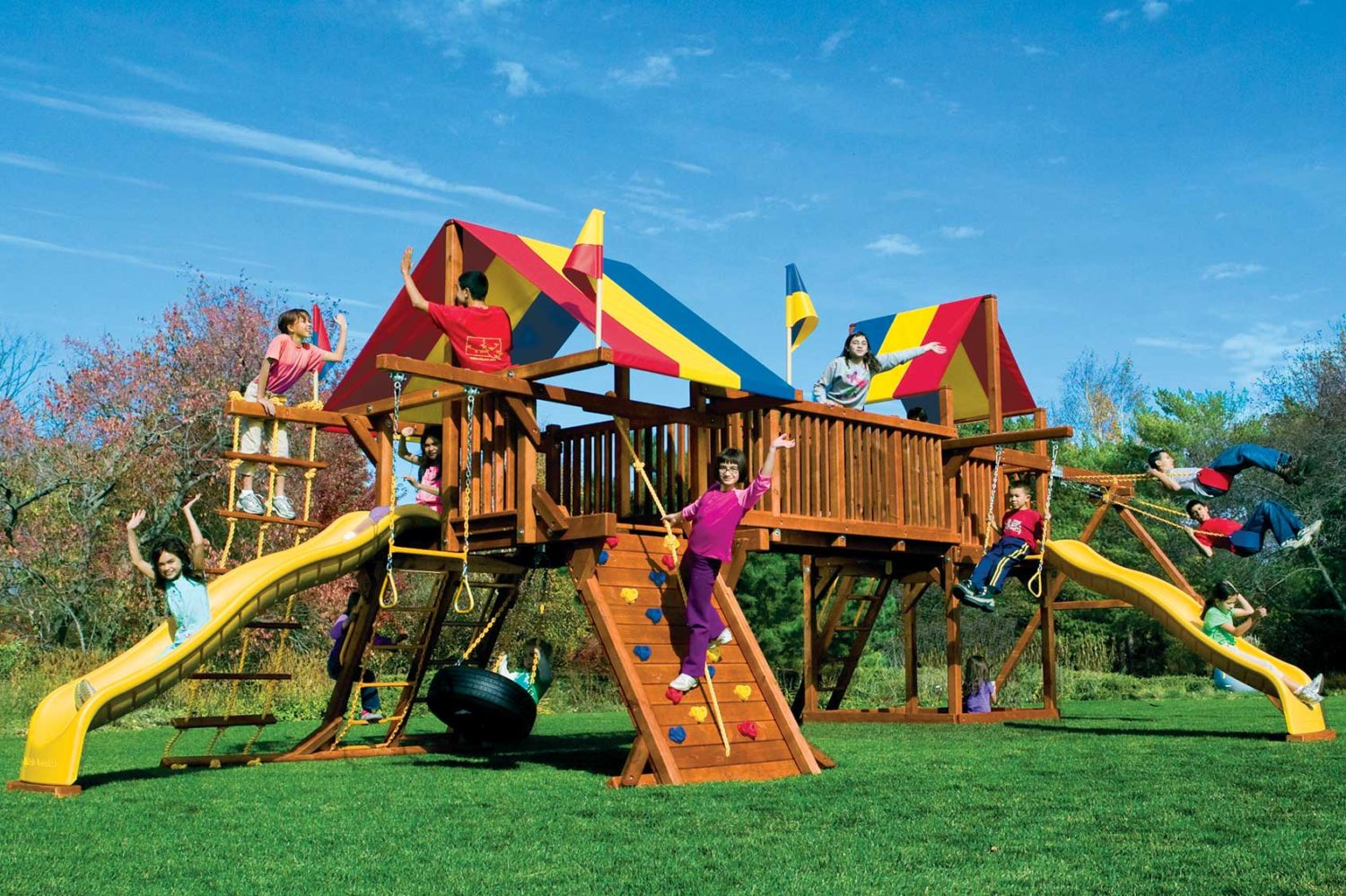 Rainbow Base Double Whammy Special Order Wooden Swing Set