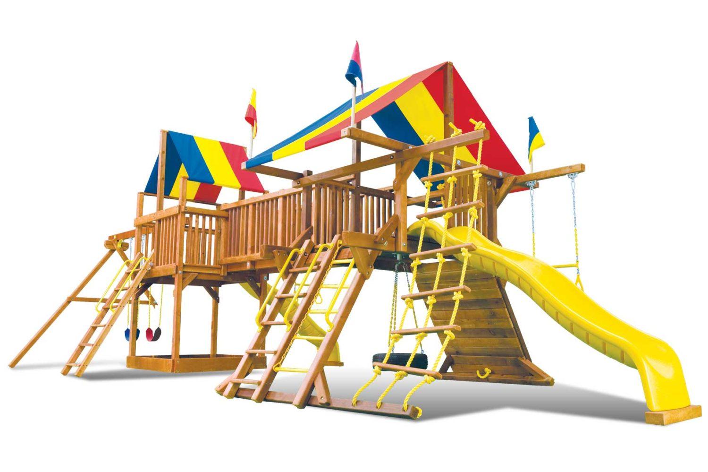 Rainbow Base Double Whammy Wooden Swing Set