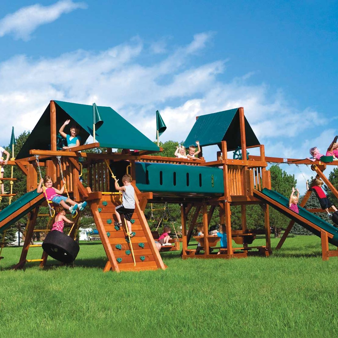 Rainbow Double Whammy Nicely Equipped Special Order Wooden Swing Set