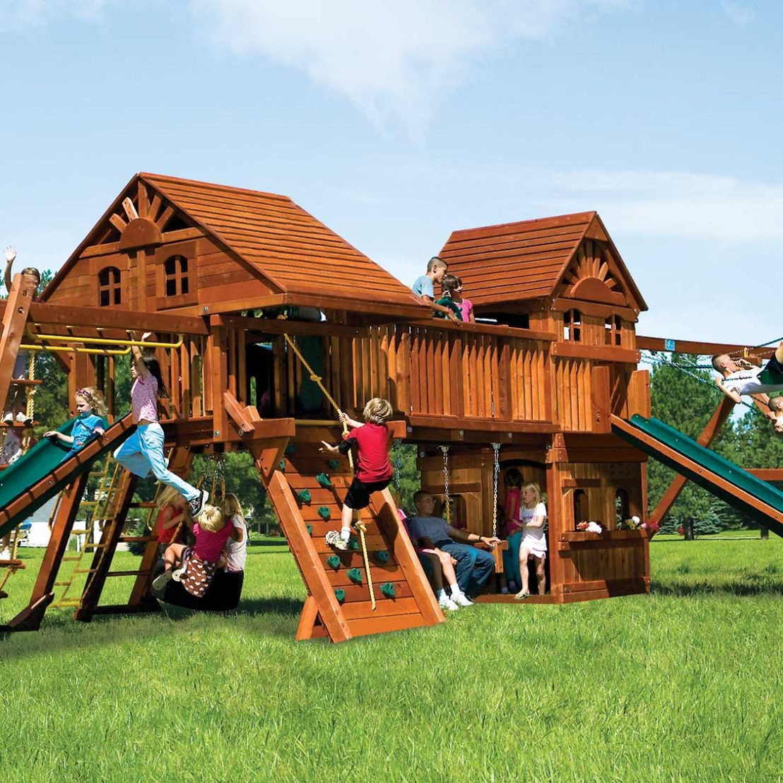 Rainbow Double Whammy Maxed Out with Wood Roofs and Tons More Special Order Wooden Swing Set