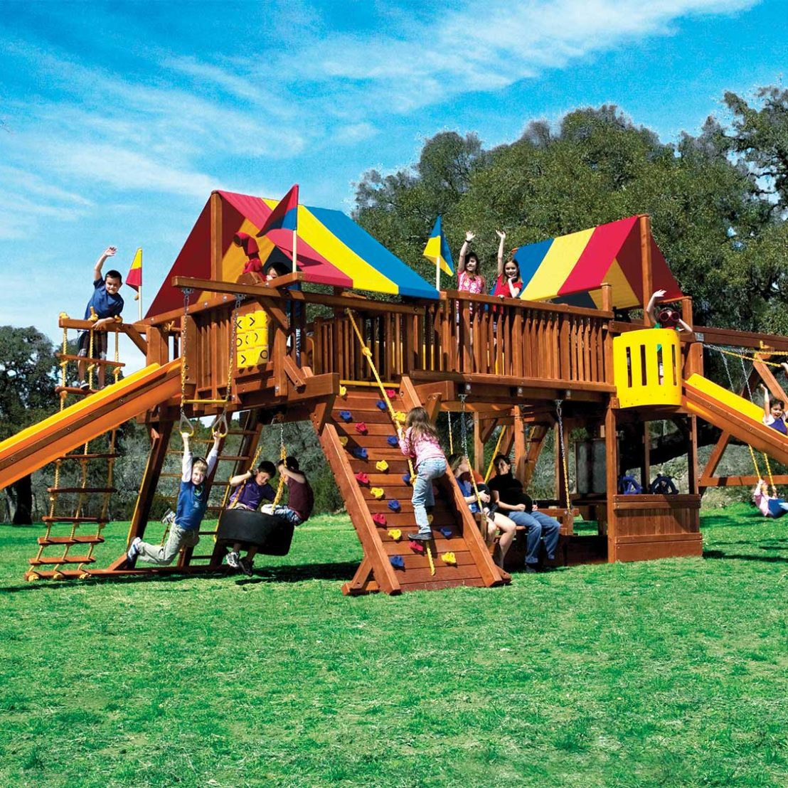 Rainbow Super Turbo Double Whammy Monstrosity Wooden Swing Set
