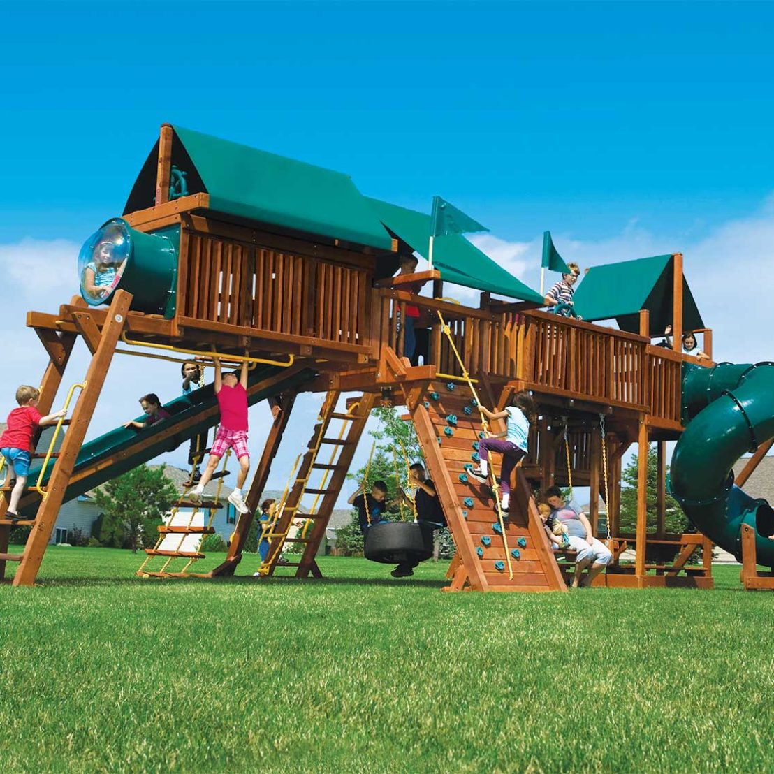 King Kong Double Whammy Green Machine Special Order Wooden Swing Set