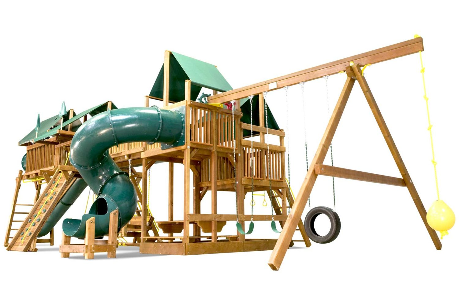 King Kong Double Whammy Green Machine Wooden Swing Set