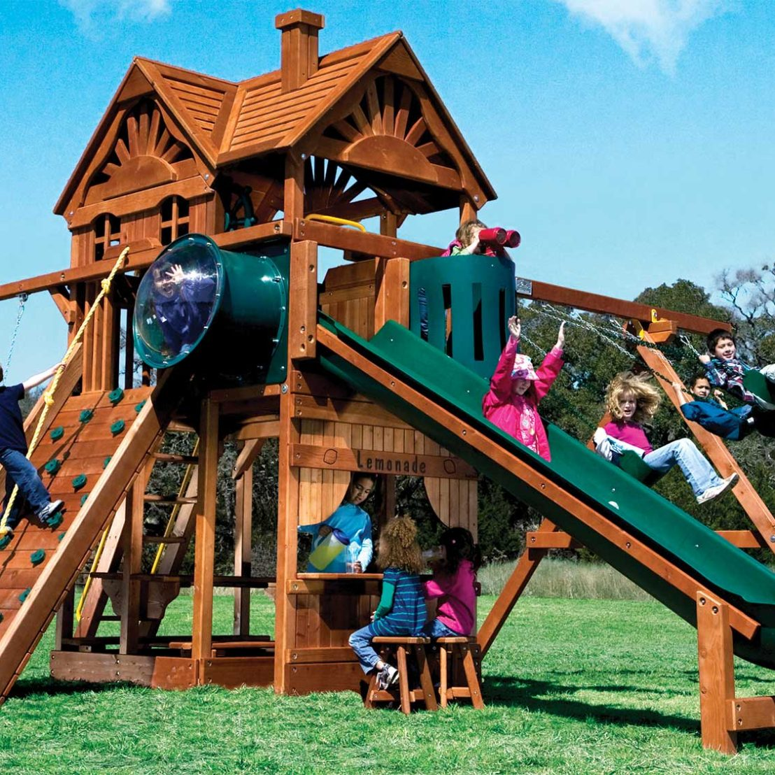 Huckleberry Hideout Pkg II Unique Special Order Wooden Swing Set