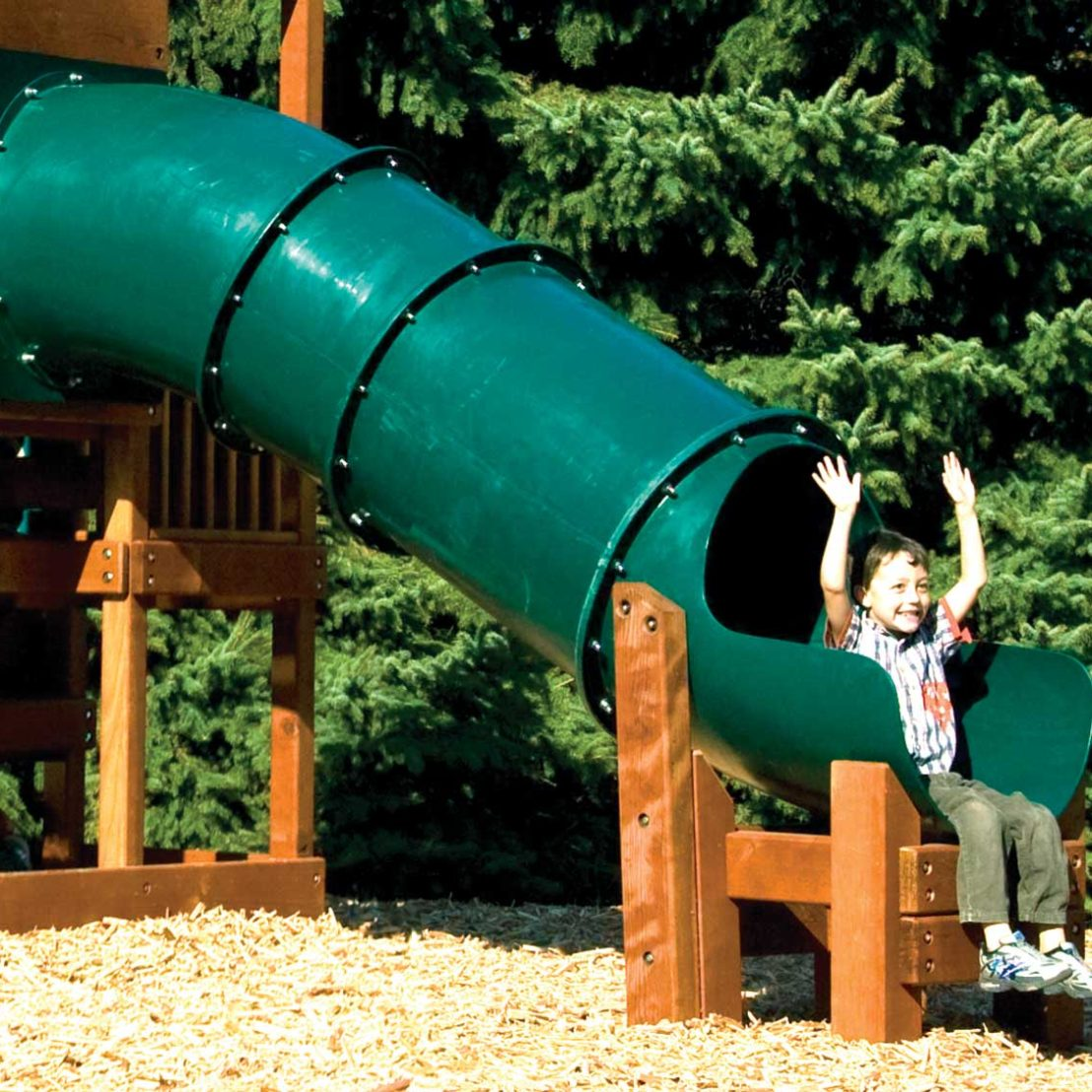 Commercial Green Tube Slide