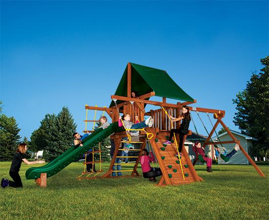 16E Fiesta Castle Pkg II Forest Green Swing Set