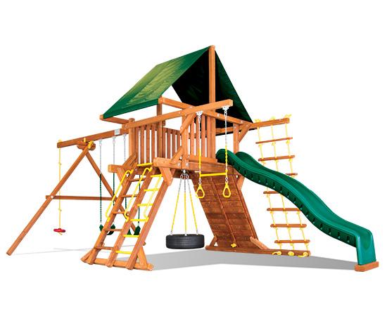 24D Carnival Castle Pkg II Forest Green Swing Set