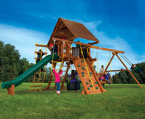 25G Carnival Castle Pkg II with Wood Roof and Lots More Swing Set