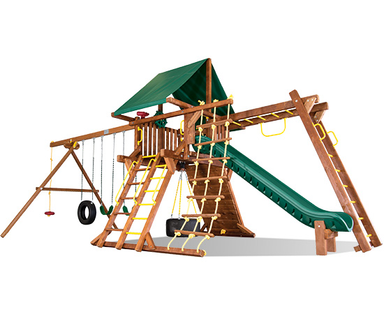 25H-Carnival-Castle Pkg III Forest Green with Extras Swing Set