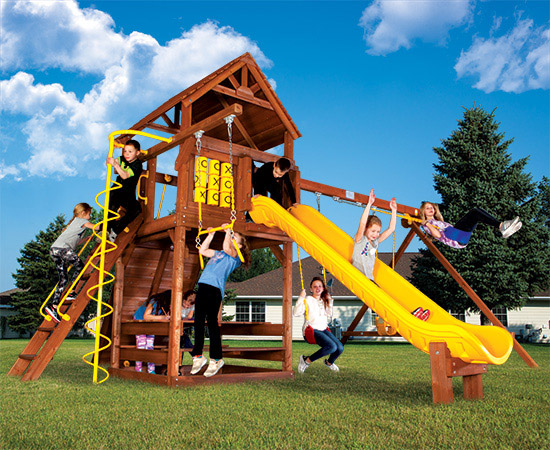 32E Carnival Clubhouse Pkg II with Wood Roof and Much More Playset