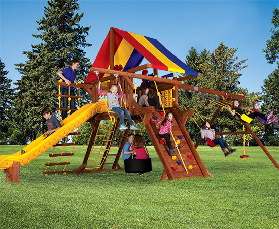 39G Sunshine Castle Pkg II with Awesome Features Swing Playset