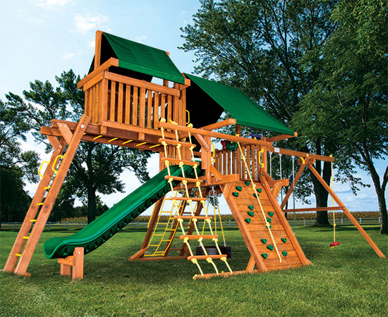 40L Sunshine Castle Pkg IV Forest Green Swing Set