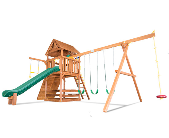 47F Sunshine Clubhouse Pkg II Loaded with Wood Roof Swing Set