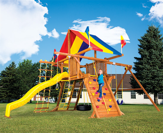 52C Rainbow Castle Pkg II Popular Swing Set