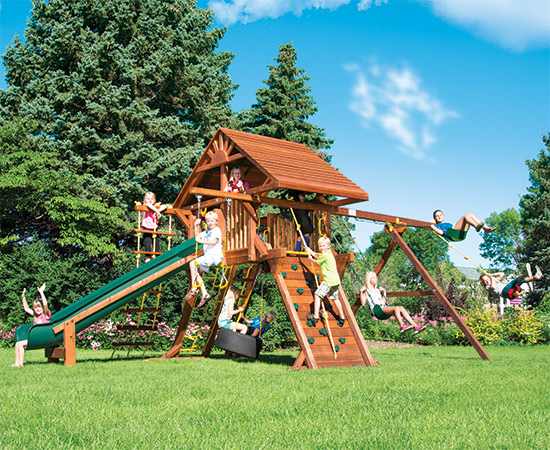 52D Rainbow Castle Pkg II Loaded with Wood-Roof Playset