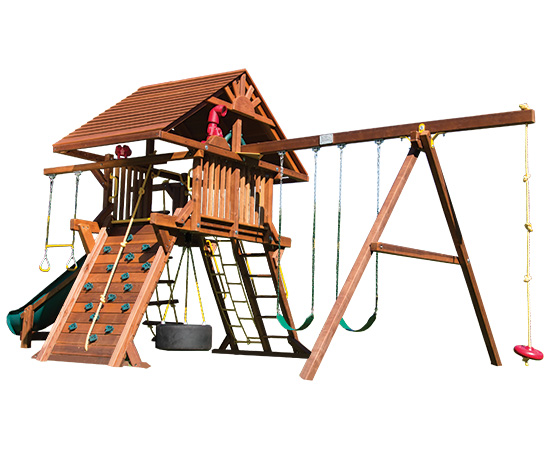52D Rainbow Castle Pkg II Loaded with Wood Roof Swing Set