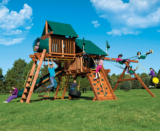53G Rainbow Castle Pkg IV Supersized and Loaded Swing Set