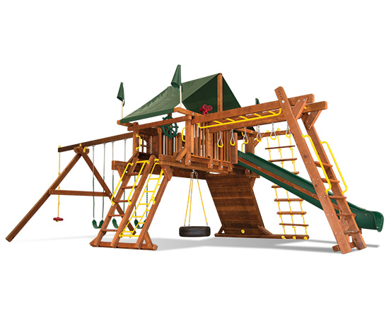 53H Rainbow Castle Pkg III Supersized & Nicely Equipped Swing Set