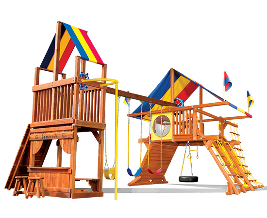54J Rainbow Castle with Tower Swing Set
